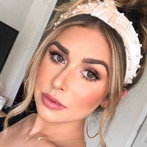 Beige Top Knot Pearl Embellished Velvet Headband